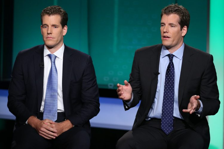 POWER LUNCH -- Pictured: Cameron (L) and Tyler Winklevoss, discuss Gemini Trust Company, their new bitcoin exchange, and their take on how Mark Zuckerberg is doing as the CEO of Facebook, in an interview on October 8, 2015 -- (Photo by: Adam Jeffery/CNBC/NBCU Photo Bank via Getty Images)